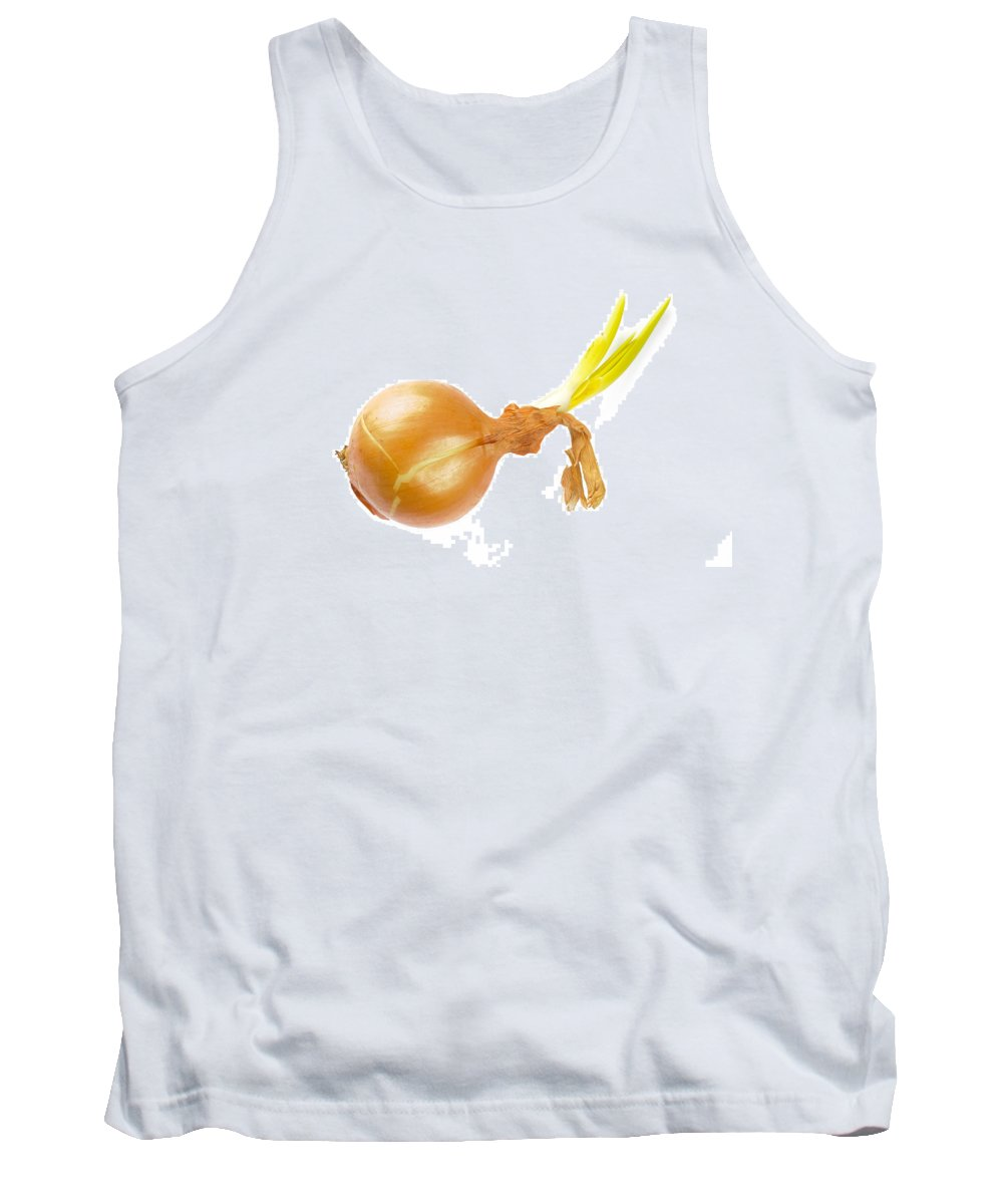 Cuisine Tank Top featuring the photograph Yellow Onion With Sprout by Alain De Maximy
