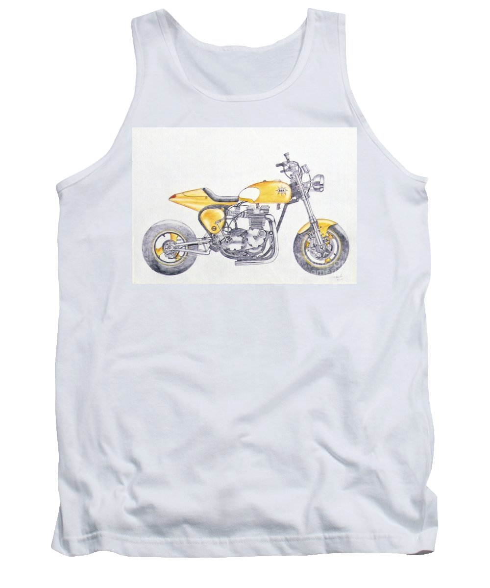 Kick Tank Top featuring the drawing Yellow Peril by Stephen Brooks