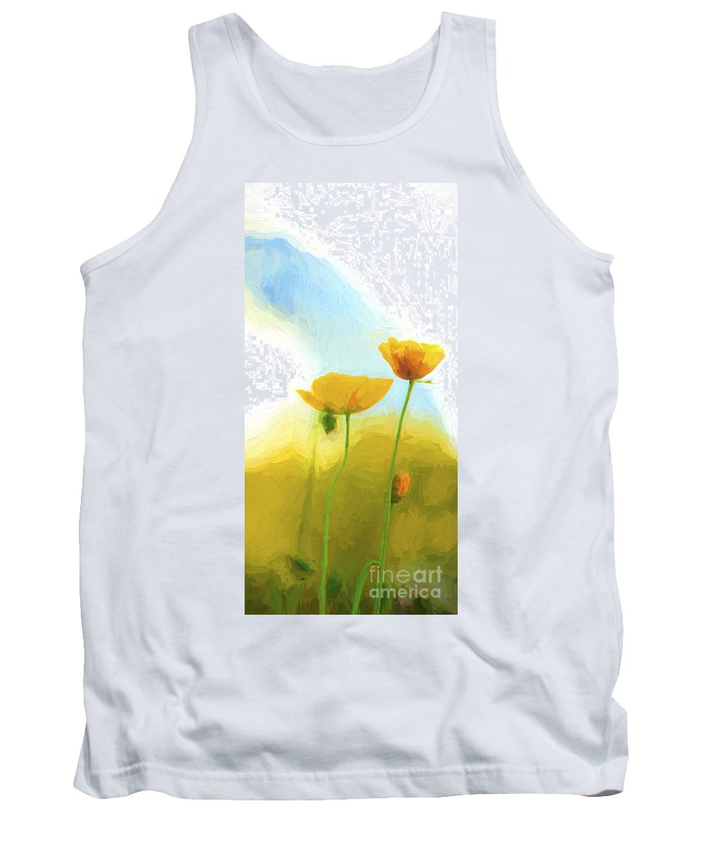 Poppy Tank Top featuring the photograph Yellow poppies with Harbour Bridge backdrop by Sheila Smart Fine Art Photography