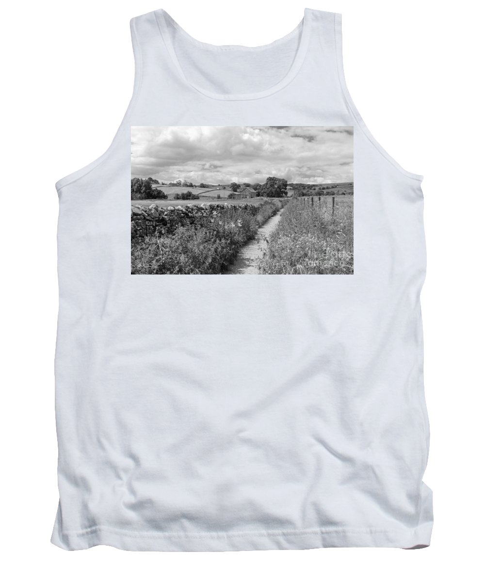 Yorkshire Dales Uk Dramatic Clouds England Uk English British Britain Landscape Countryside Traditional Path Through Track Trail Footpath Fluffy Cloud Single Lone Depth Cumulus White Black Mono Sky Skies Drifting Rural Dry Stone Wall Tank Top featuring the photograph Yorkshire Dales Uk by Julia Gavin