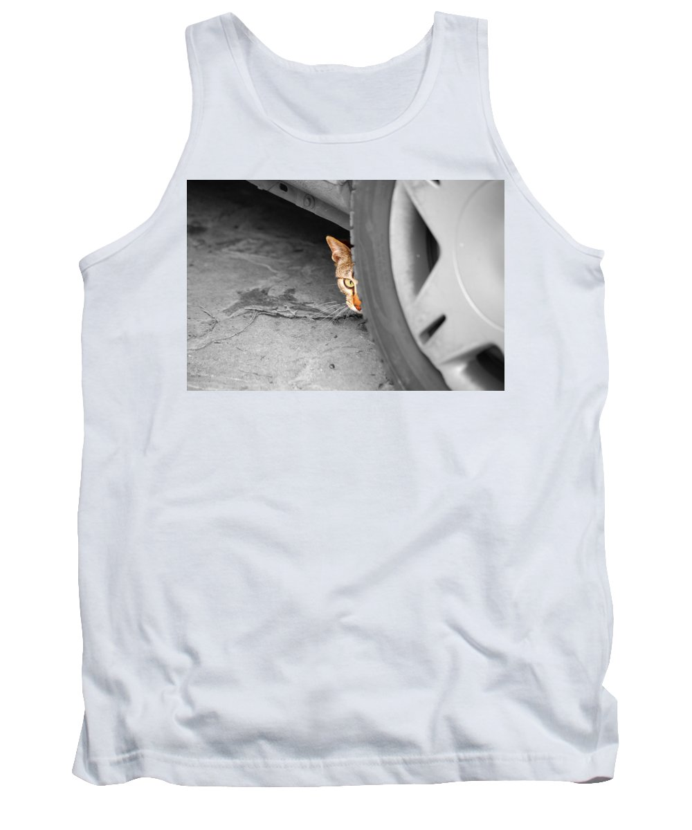 Cat Tank Top featuring the photograph You Can't See Me by Andrea Mazzocchetti