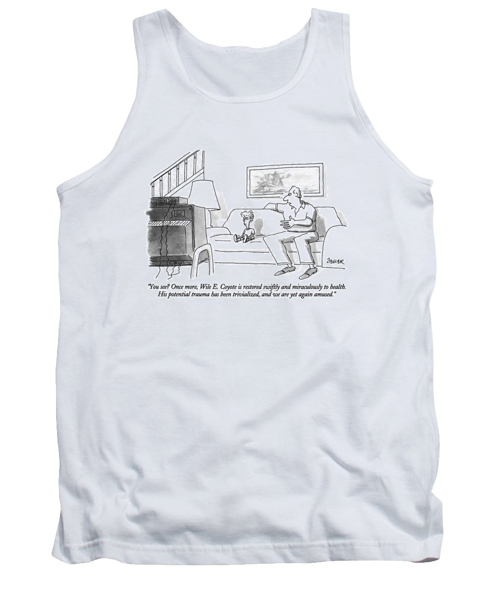 (father's Insightful Analysis To His Young Son Who Is Watching Tv) Television Tank Top featuring the drawing You See? Once More by Jack Ziegler