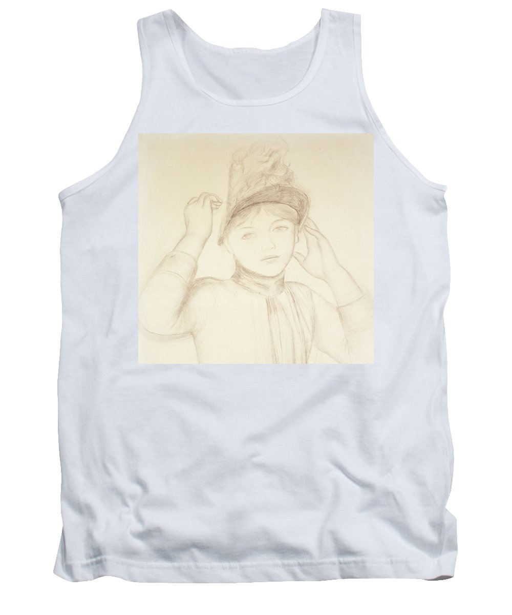 Renoir Tank Top featuring the drawing Young Woman Arranging Her Hat by Pierre Auguste Renoir