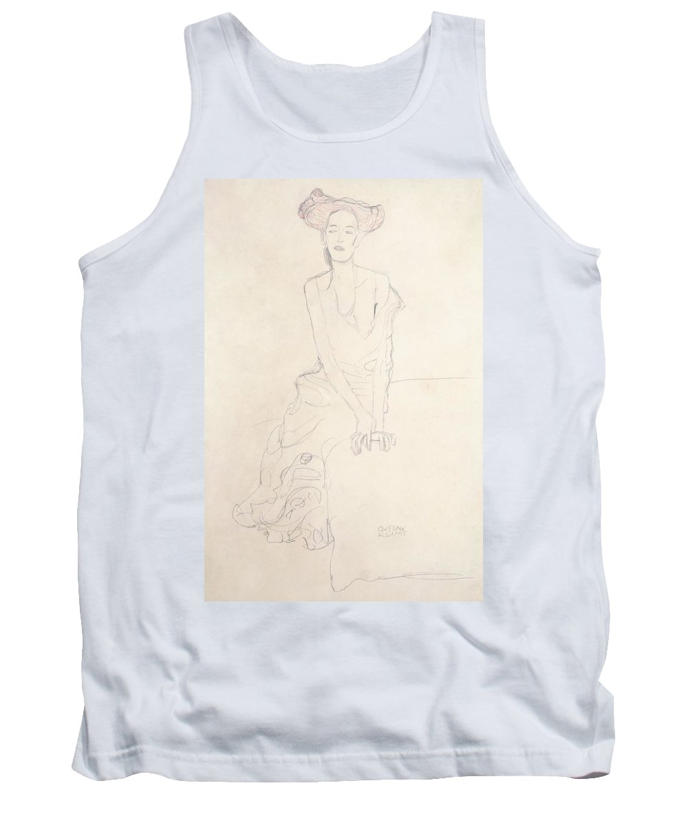 Expressionist Tank Top featuring the drawing Young Woman by Gustav Klimt
