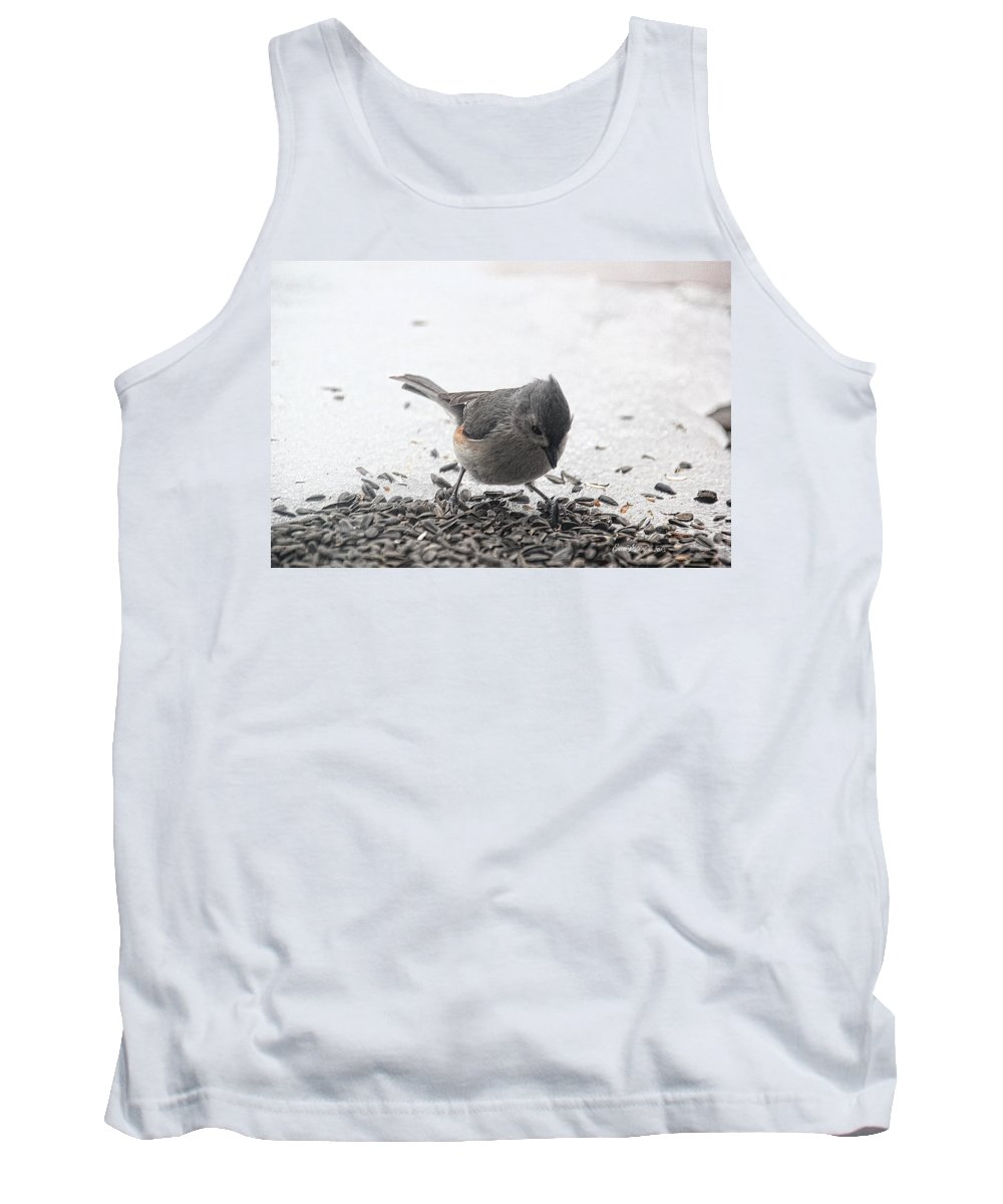 Titmouse Tank Top featuring the photograph Yummy Sunflower Seeds by Ericamaxine Price