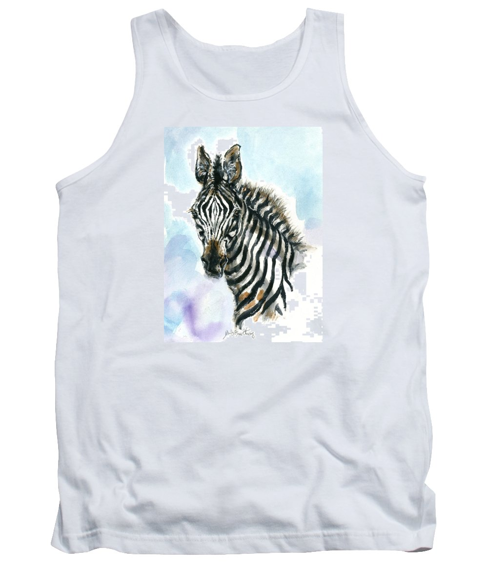Mary Ogden Armstrong Tank Top featuring the painting Zebra 1 by Mary Armstrong