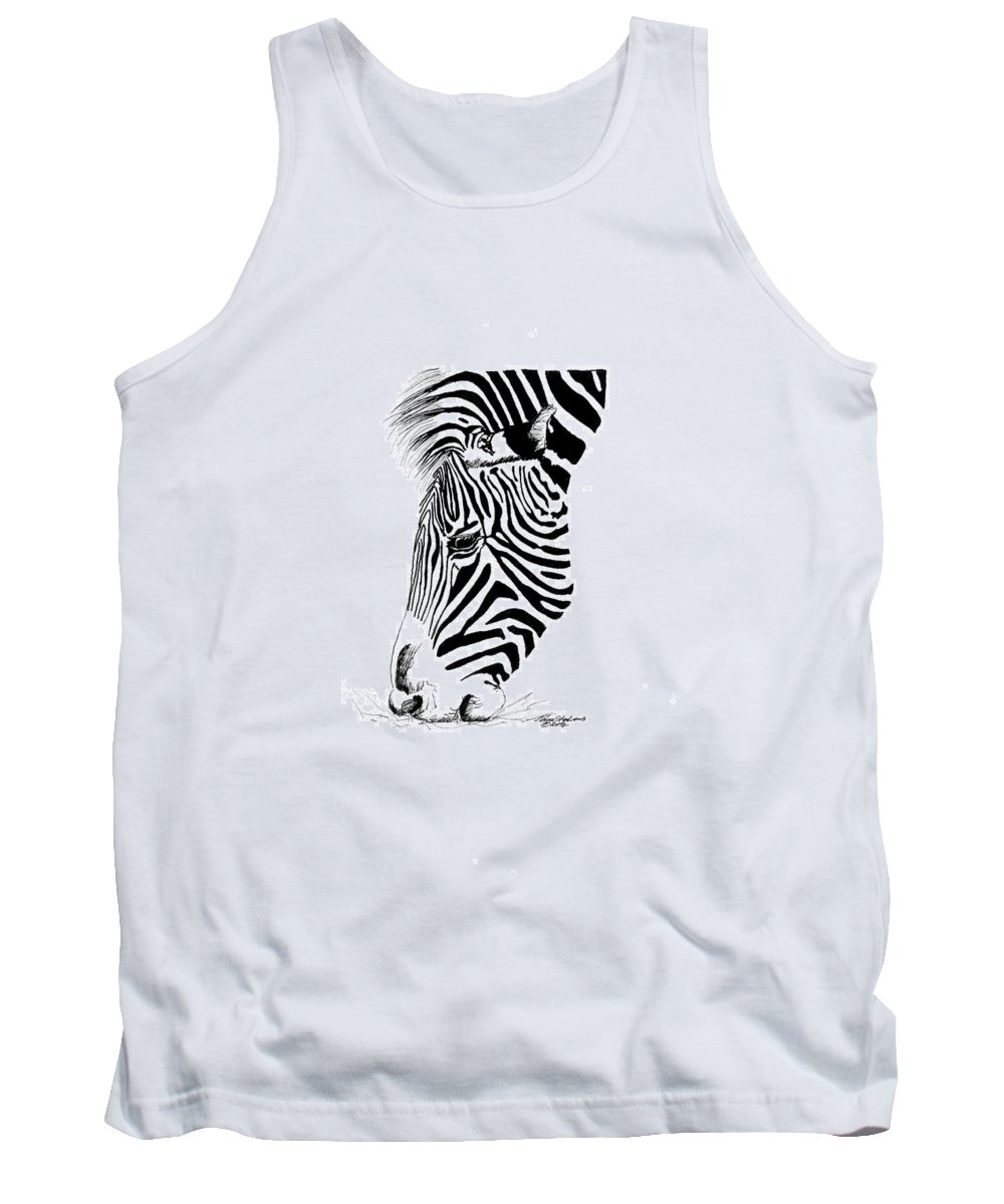 Zebra Tank Top featuring the drawing Zebra by Petra Stephens