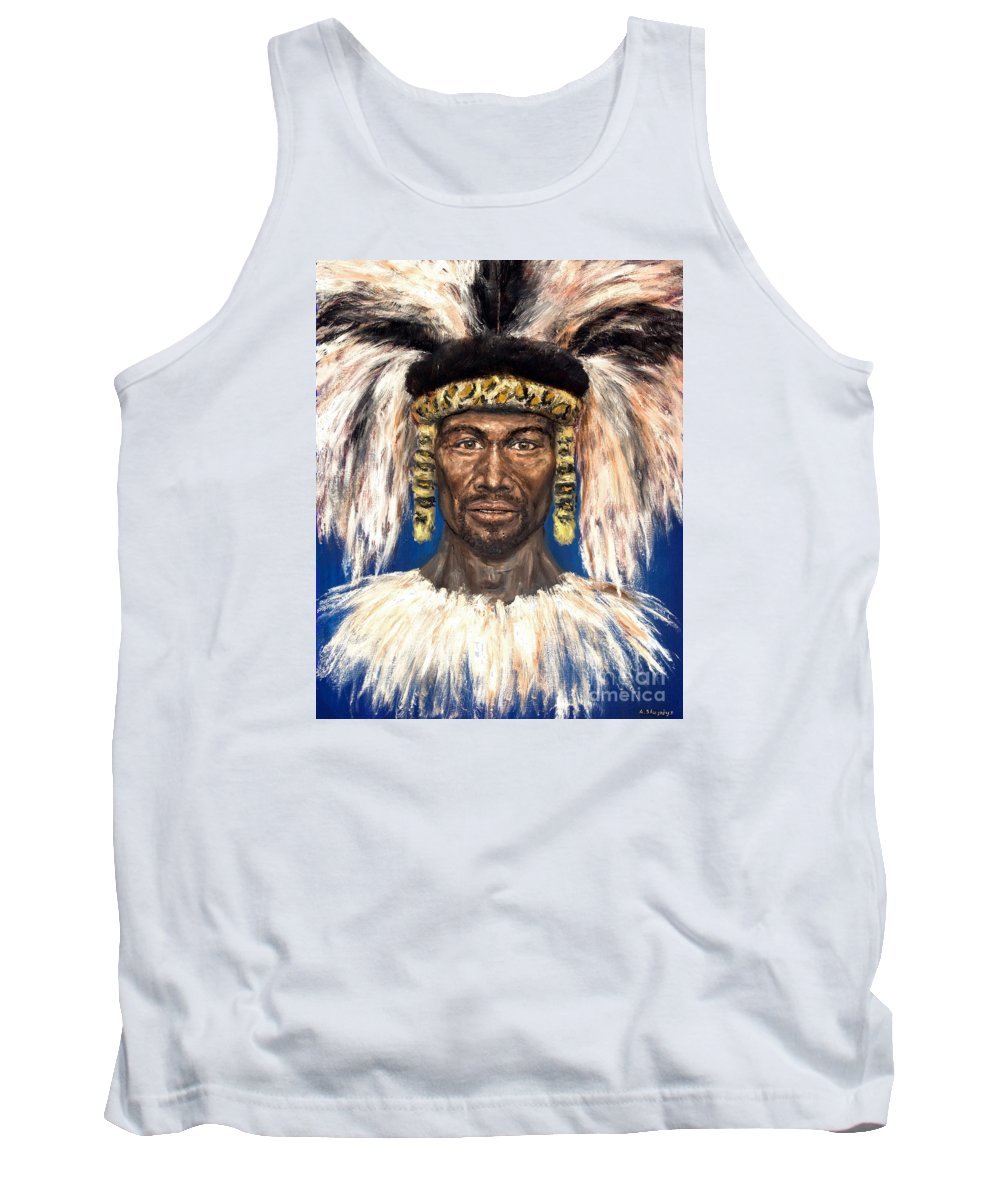 Zulu Tank Top featuring the painting Zulu Warrior by Arturas Slapsys