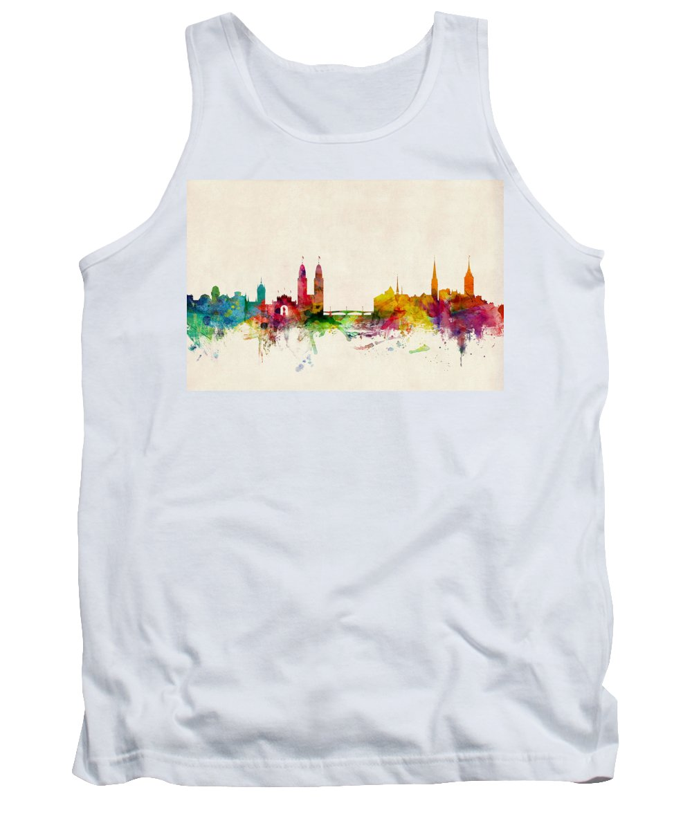Zurich Tank Top featuring the digital art Zurich Switzerland Skyline by Michael Tompsett