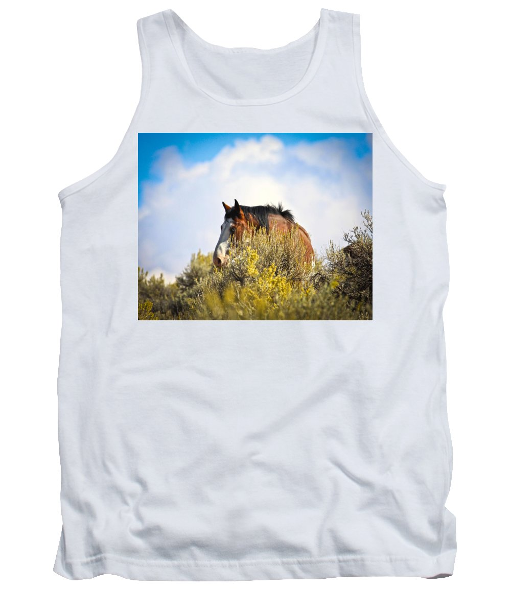 Horse Tank Top featuring the photograph Wild Horse In The Sage by Steve McKinzie