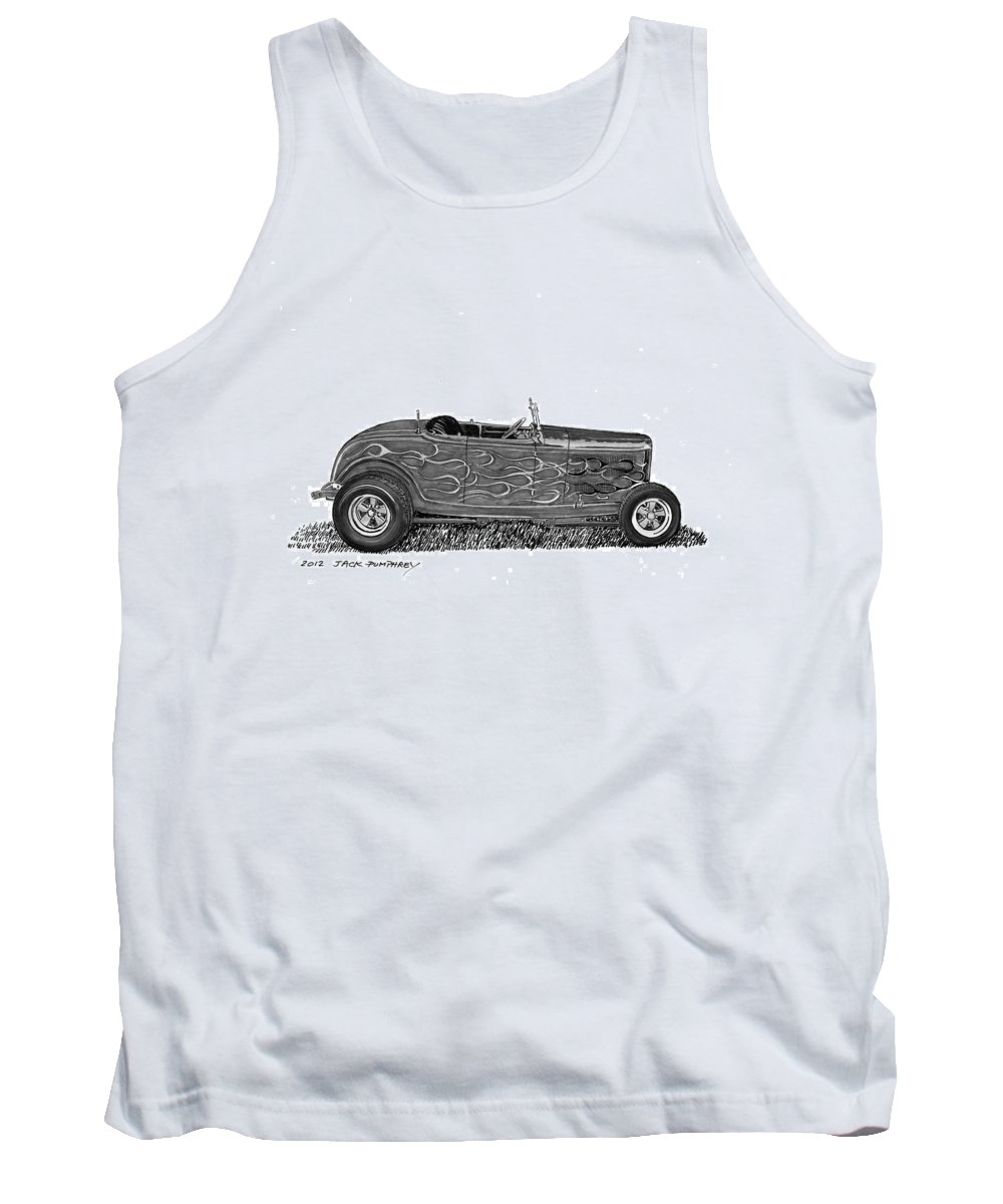 Framed Prints Of Pen And Ink Wash Paintings Of Cars From The 30s Tank Top featuring the painting 1932 Ford Hi Boy Hot Rod by Jack Pumphrey