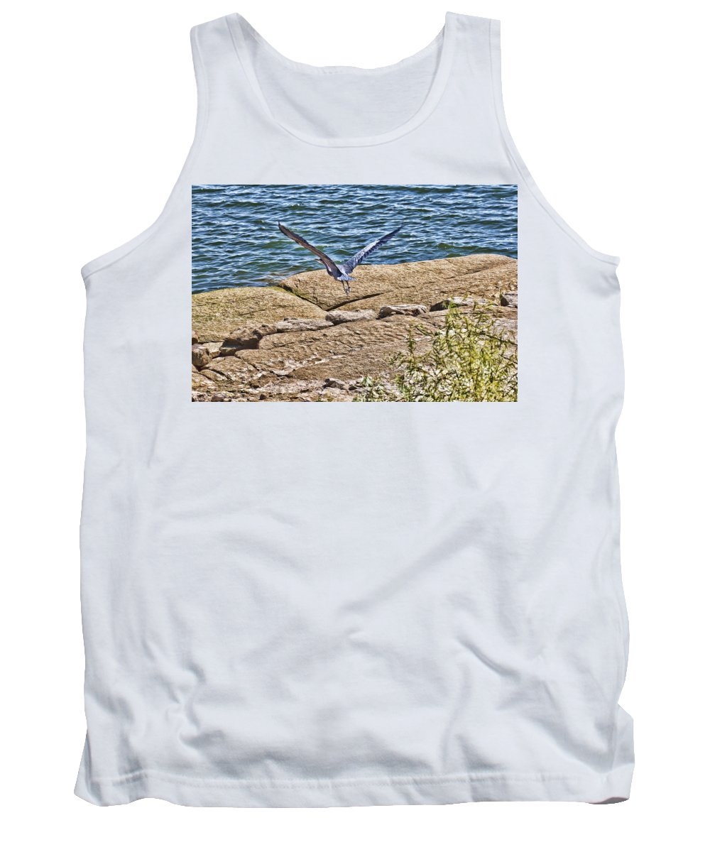 Blue Heron Tank Top featuring the photograph Airborne by Douglas Barnard
