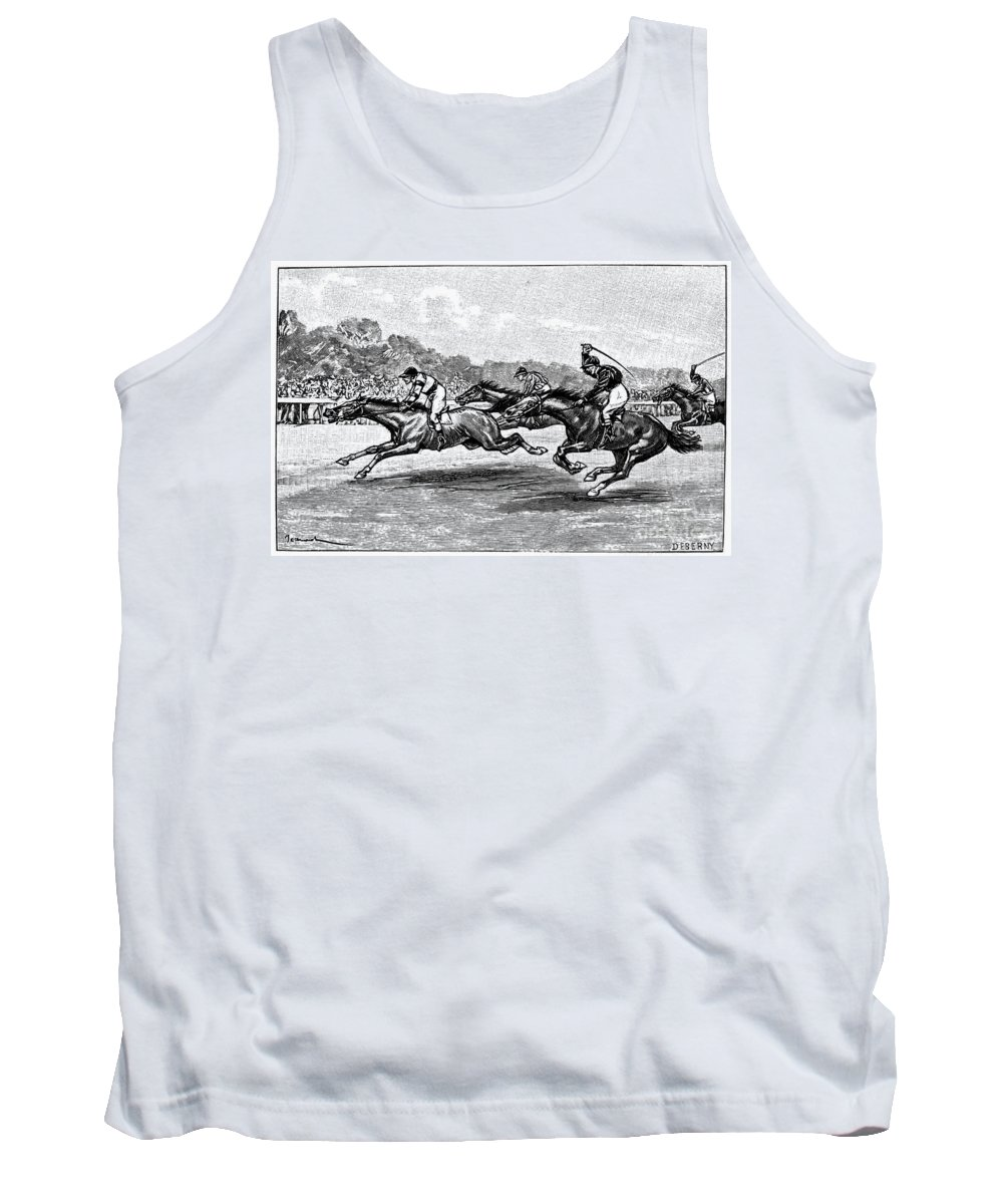 1900 Tank Top featuring the photograph Horse Racing, 1900 by Granger