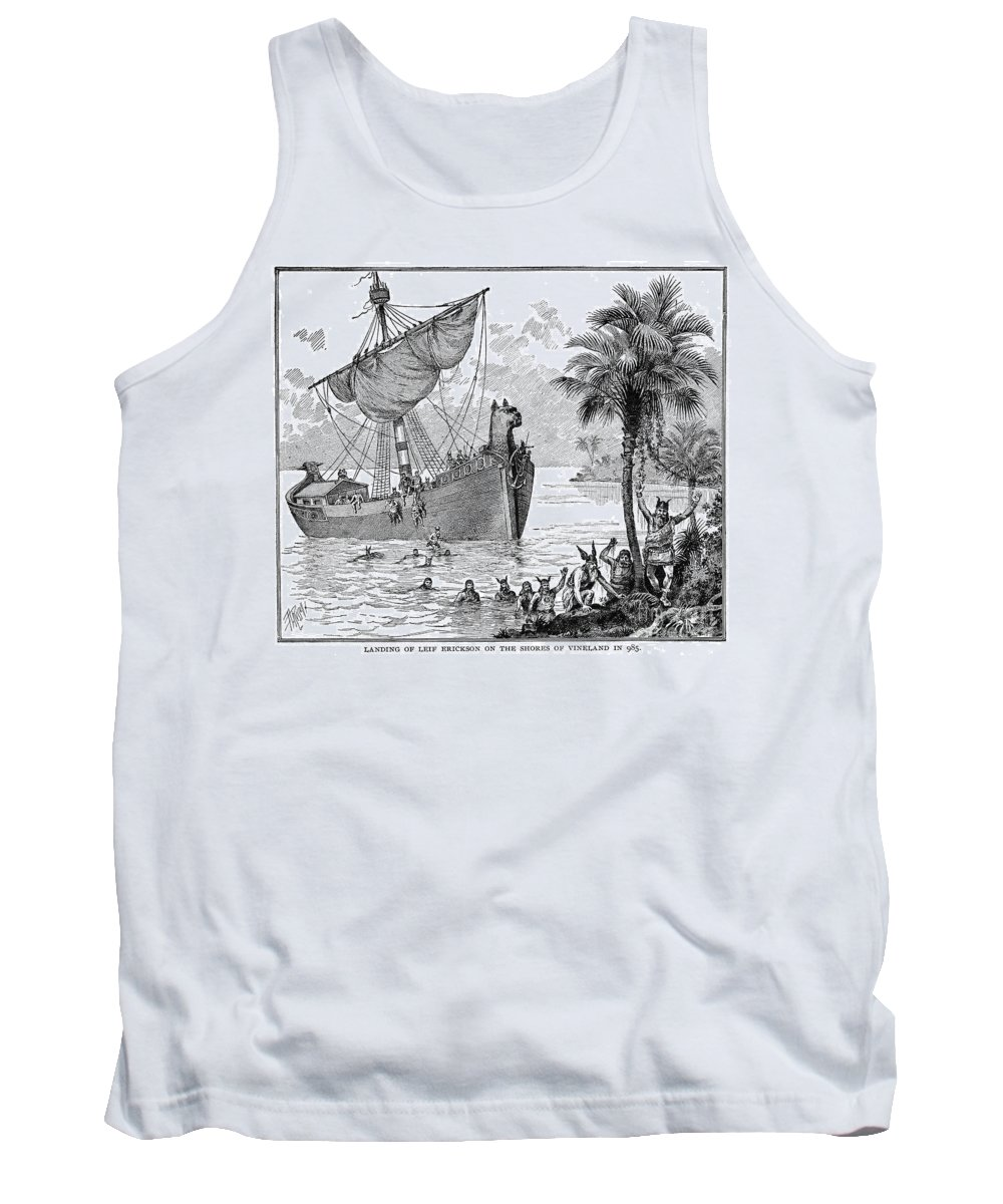 1000 Tank Top featuring the photograph Landing Of Leif Ericsson by Granger