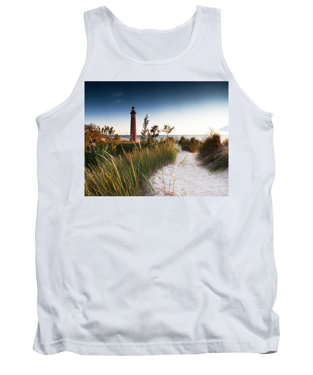Beach Tank Top featuring the photograph Little Sable Point Light Station by Larry Carr