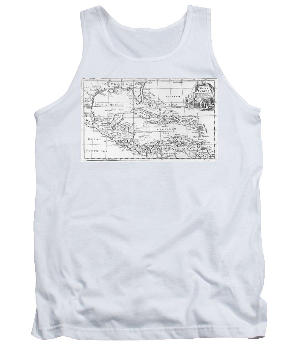 Maps Tank Top featuring the drawing Map Of The West Indies Florida And South America by English School