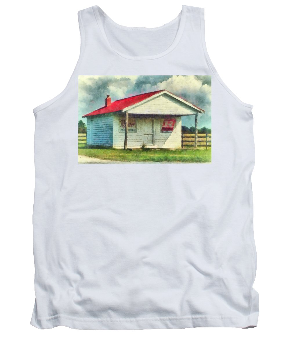 Watercolor Tank Top featuring the painting Royster Fertilizers by Lynne Jenkins