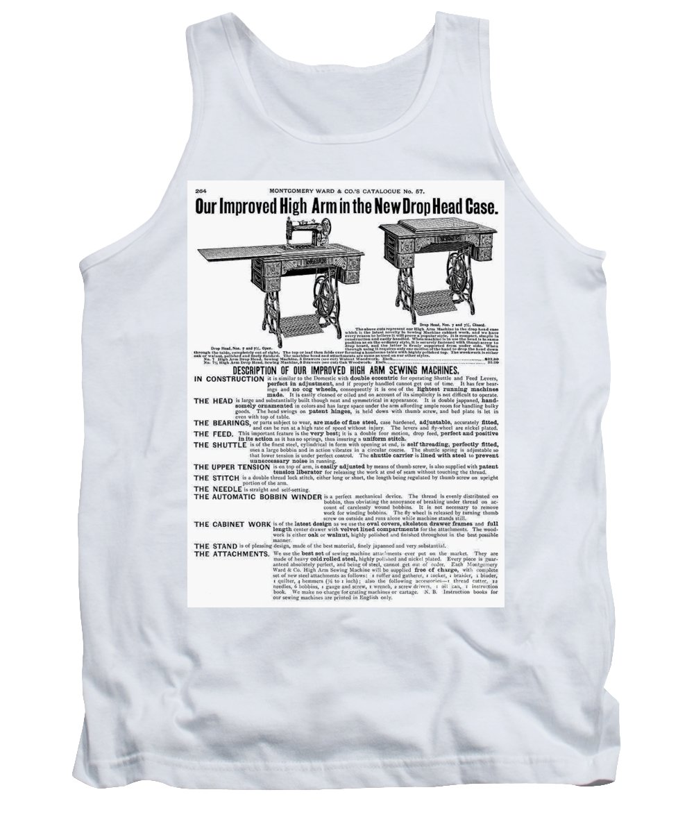 1895 Tank Top featuring the photograph Sewing Machine Ad, 1895 by Granger