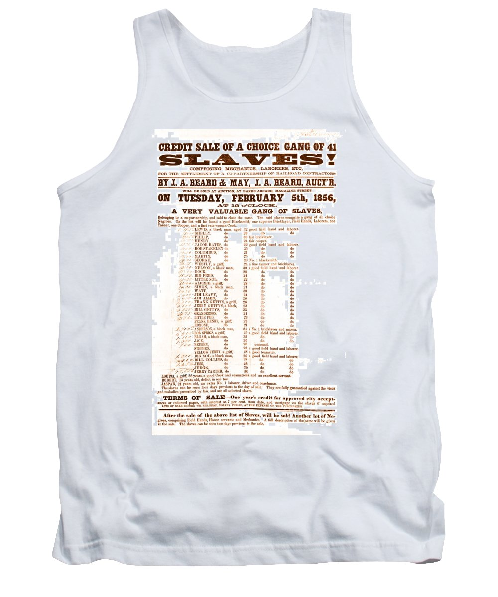 Abolition Tank Top featuring the photograph Slave Auction Notice by Photo Researchers, Inc.