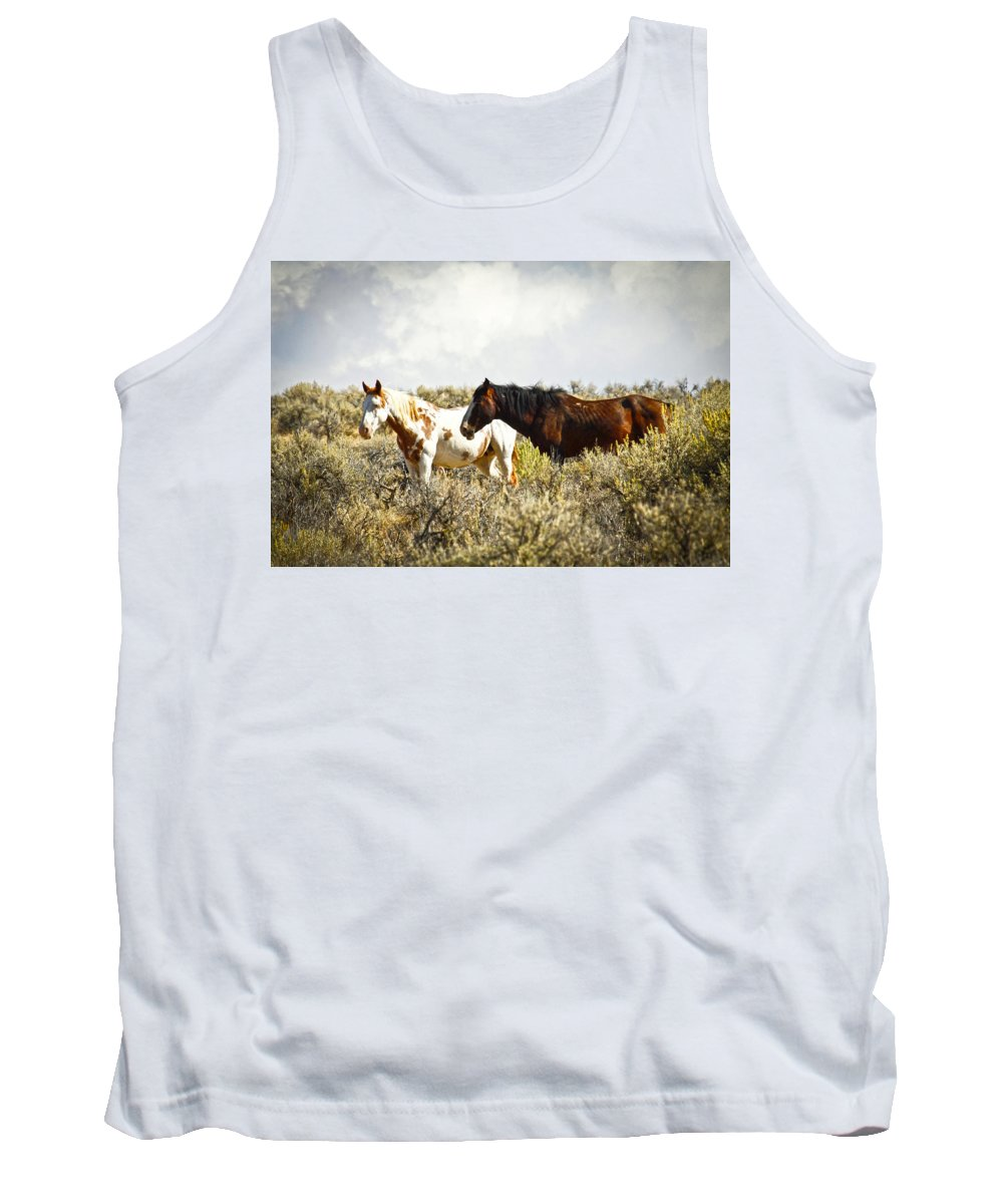 Horses Tank Top featuring the photograph Wild Horses by Steve McKinzie