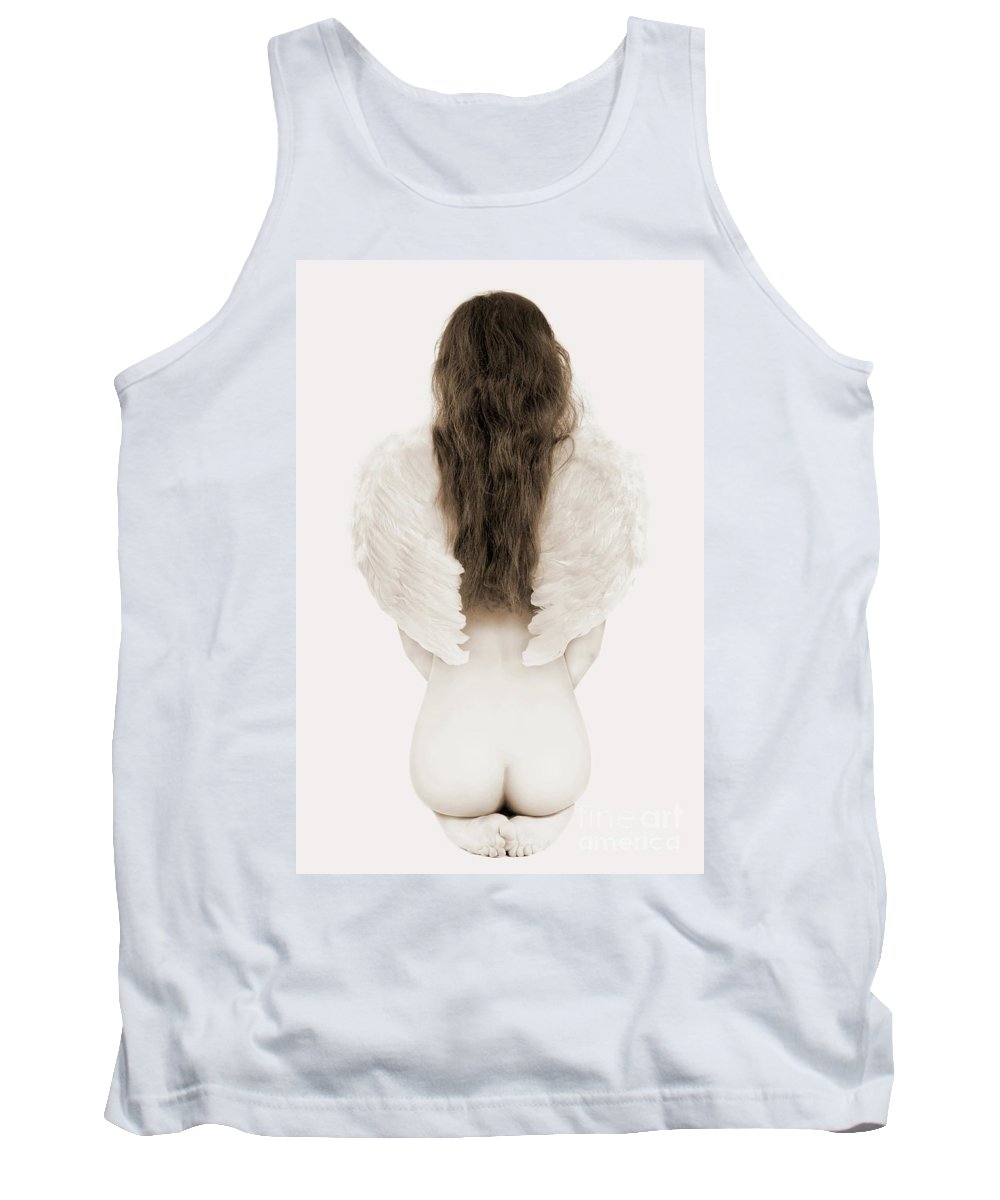 Young Tank Top featuring the photograph Woman With Angel Wings by Oleksiy Maksymenko