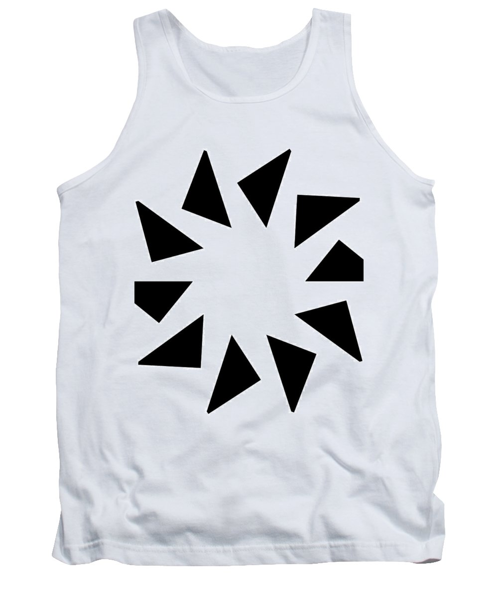 Form Forms Black White Triangle Geometric Abstract Art Minimalism Spiral Digital Painting Tank Top featuring the digital art 10 by Steve K