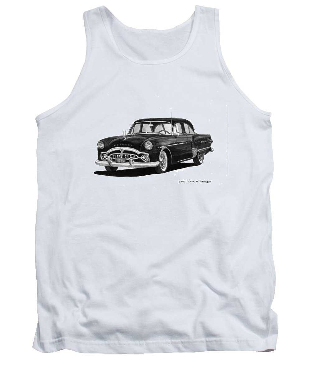 Framed Prints Of Pen And Ink Wash Paintings Of Cars From The 30s Tank Top featuring the painting 1951 Packard Patrician 400 by Jack Pumphrey