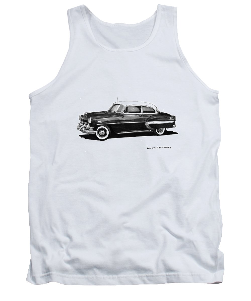 Framed Prints Of Pen And Ink Wash Paintings Of Cars From The 30s Tank Top featuring the painting 1953 Chevrolet Post 2 Dr Sedan by Jack Pumphrey