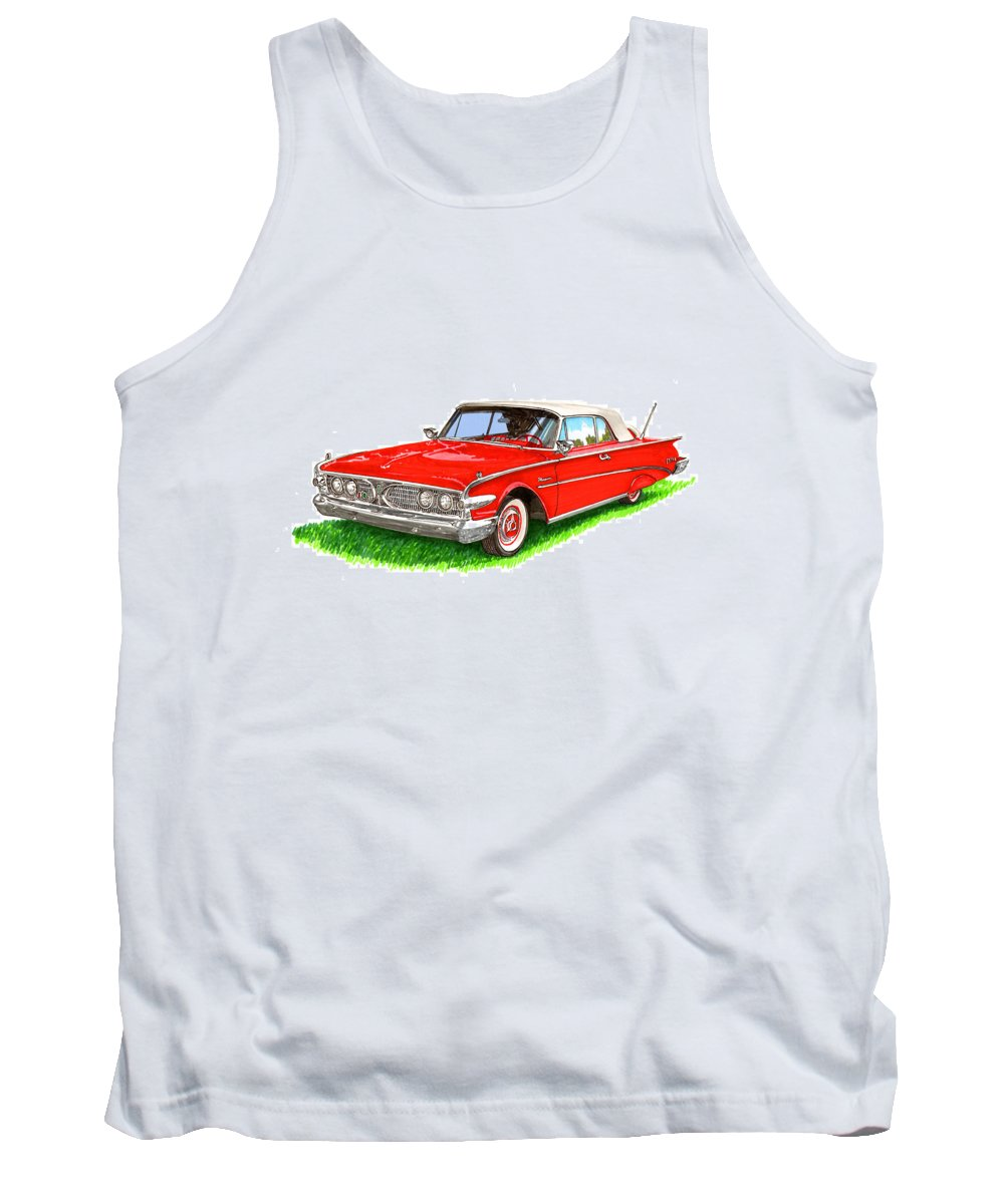 1960 Ford Edsel Ranger Convertible Tank Top featuring the painting 1960 Edsel Ranger Convertible by Jack Pumphrey