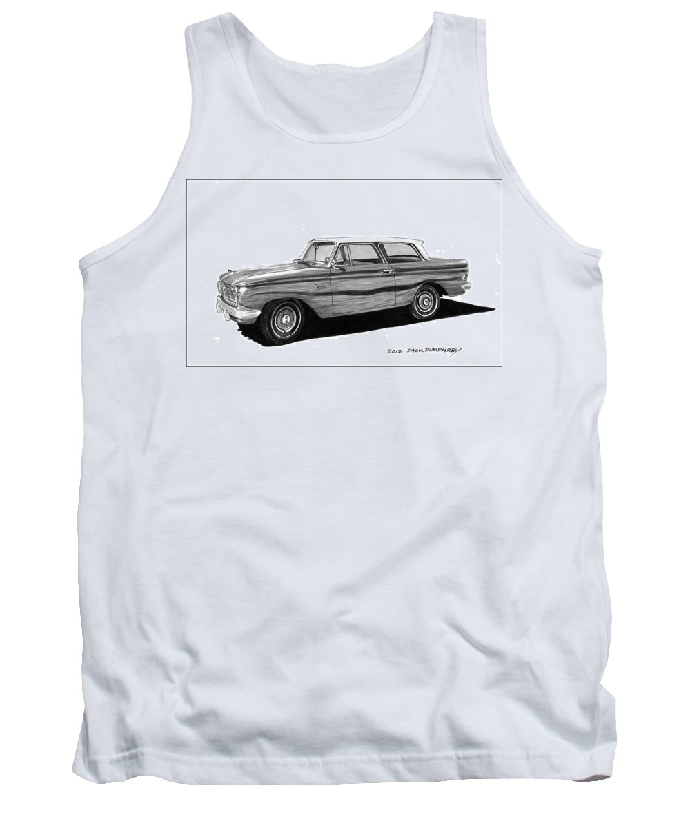 Framed Prints Of Pen And Ink Wash Paintings Of Cars From The 30s Tank Top featuring the painting 1962 Rambler American by Jack Pumphrey