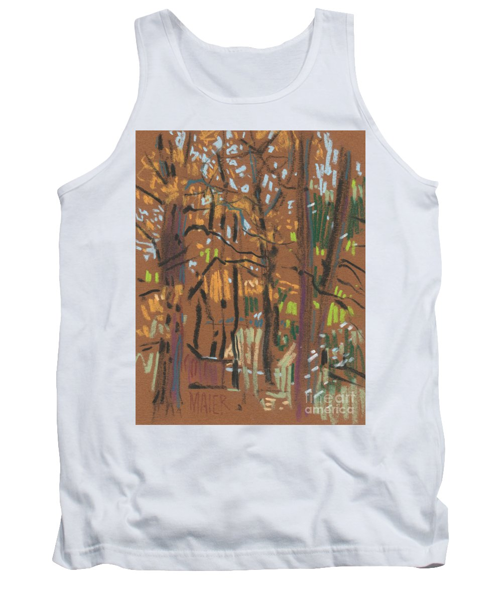 Trees Tank Top featuring the painting Autumn Gold by Donald Maier