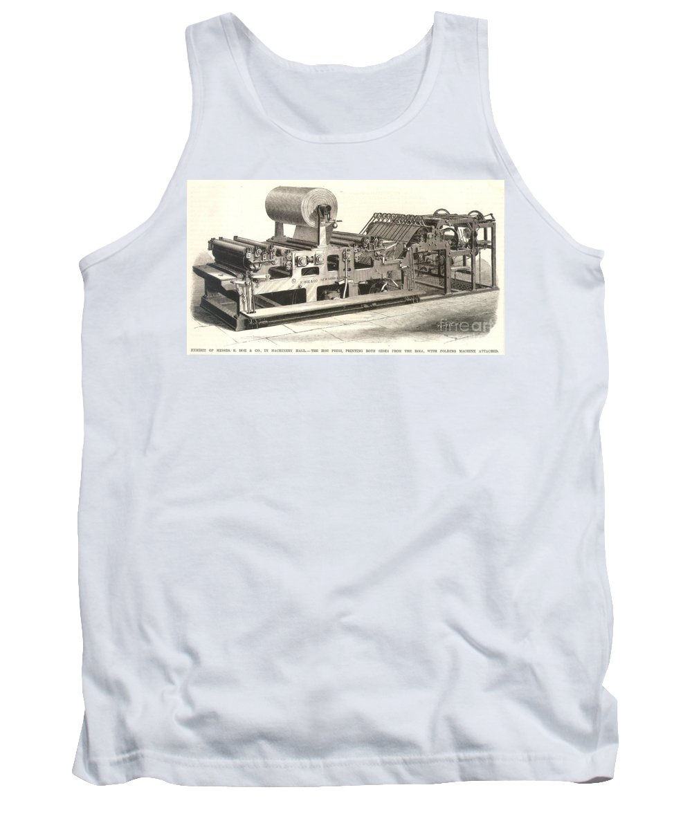 1876 Tank Top featuring the photograph Hoe Web Printing Press by Granger