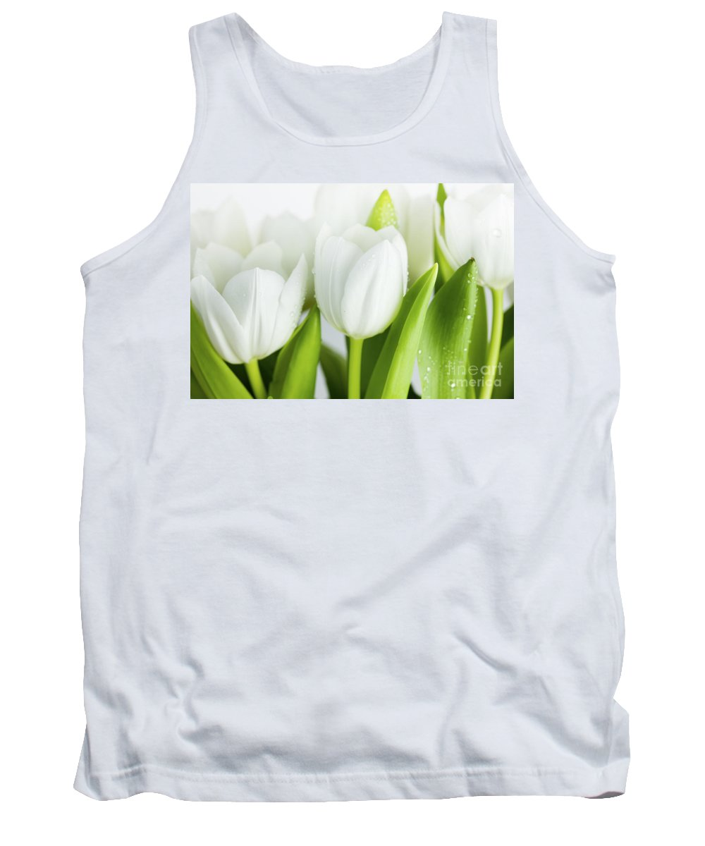 Dew Tank Top featuring the photograph White Tulips by Nailia Schwarz