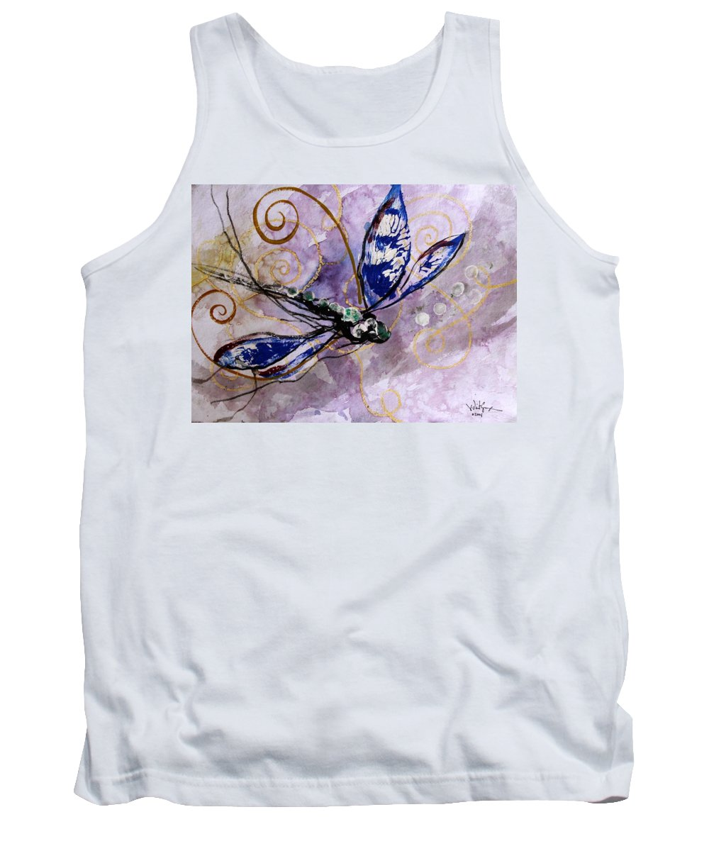 Dragonfly Tank Top featuring the painting Abstract Dragonfly 9 by J Vincent Scarpace