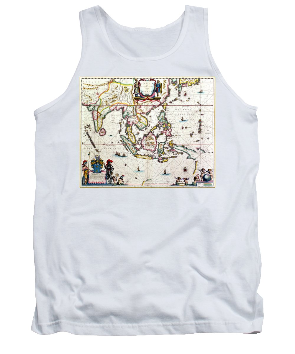 Maps Tank Top featuring the drawing Antique Map Showing Southeast Asia And The East Indies by Willem Blaeu