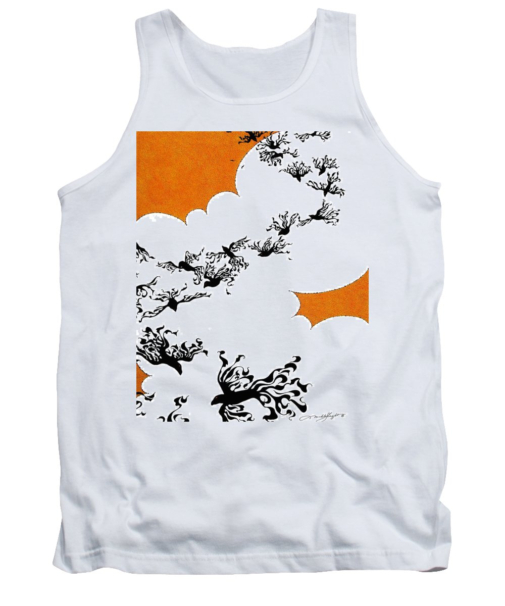 Crows Tank Top featuring the drawing As The Crows Fly by Michele Sleight