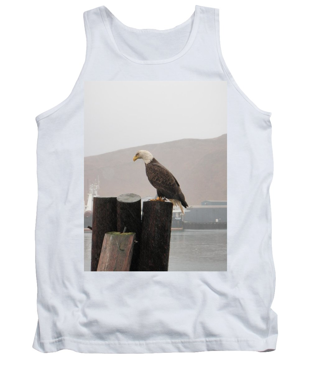 Bald Eaglesoaring Tank Top featuring the photograph Bald Eagle On Piling by Dean Gribble