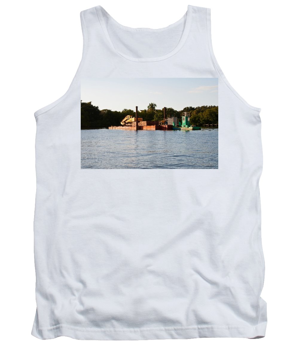 Barge Tank Top featuring the photograph Barge In Naples Bay by Christine Stonebridge