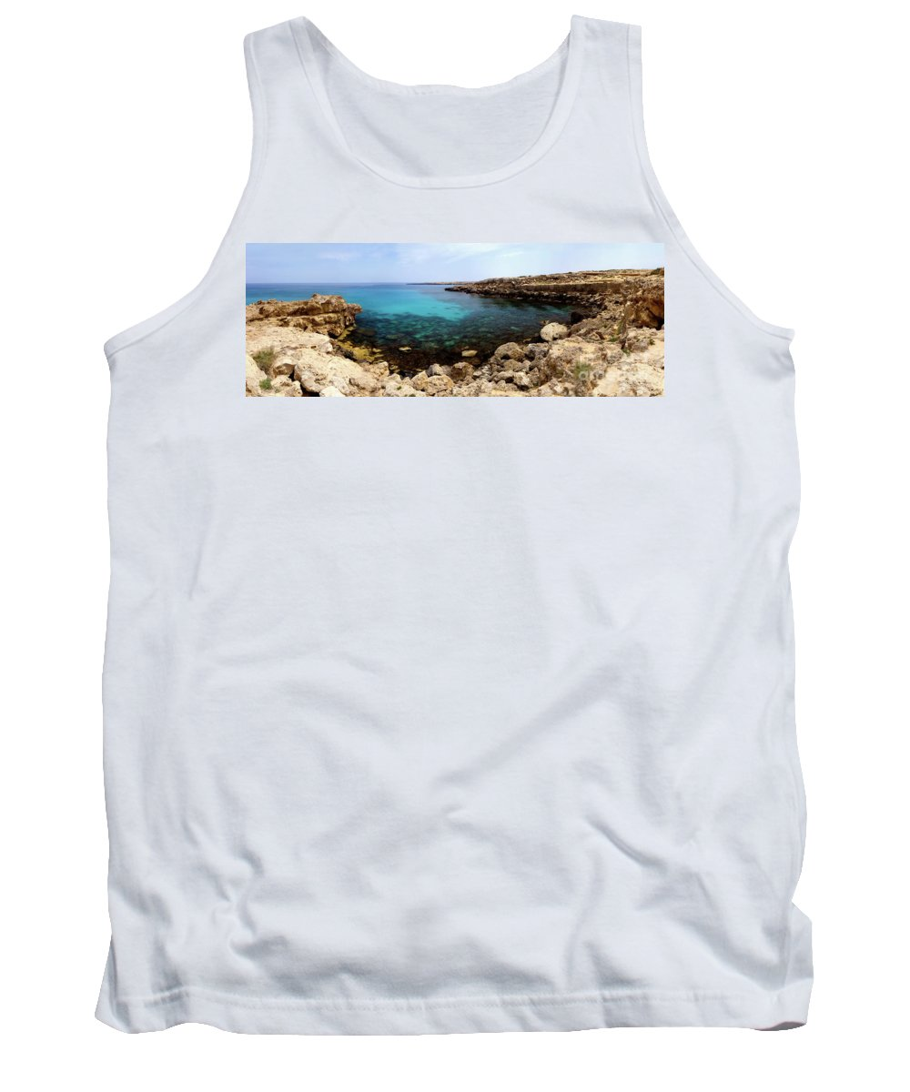 Cyprus Tank Top featuring the photograph Beautiful View On Mediterranean Sea Cape Gkreko In Cyprus by Oleksiy Maksymenko
