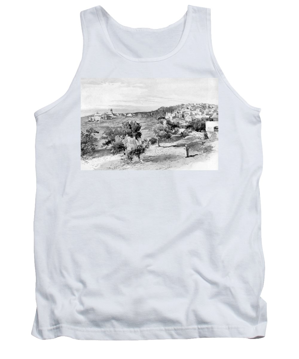 Bethlehem Tank Top featuring the photograph Bethlehem City In Black And White by Munir Alawi
