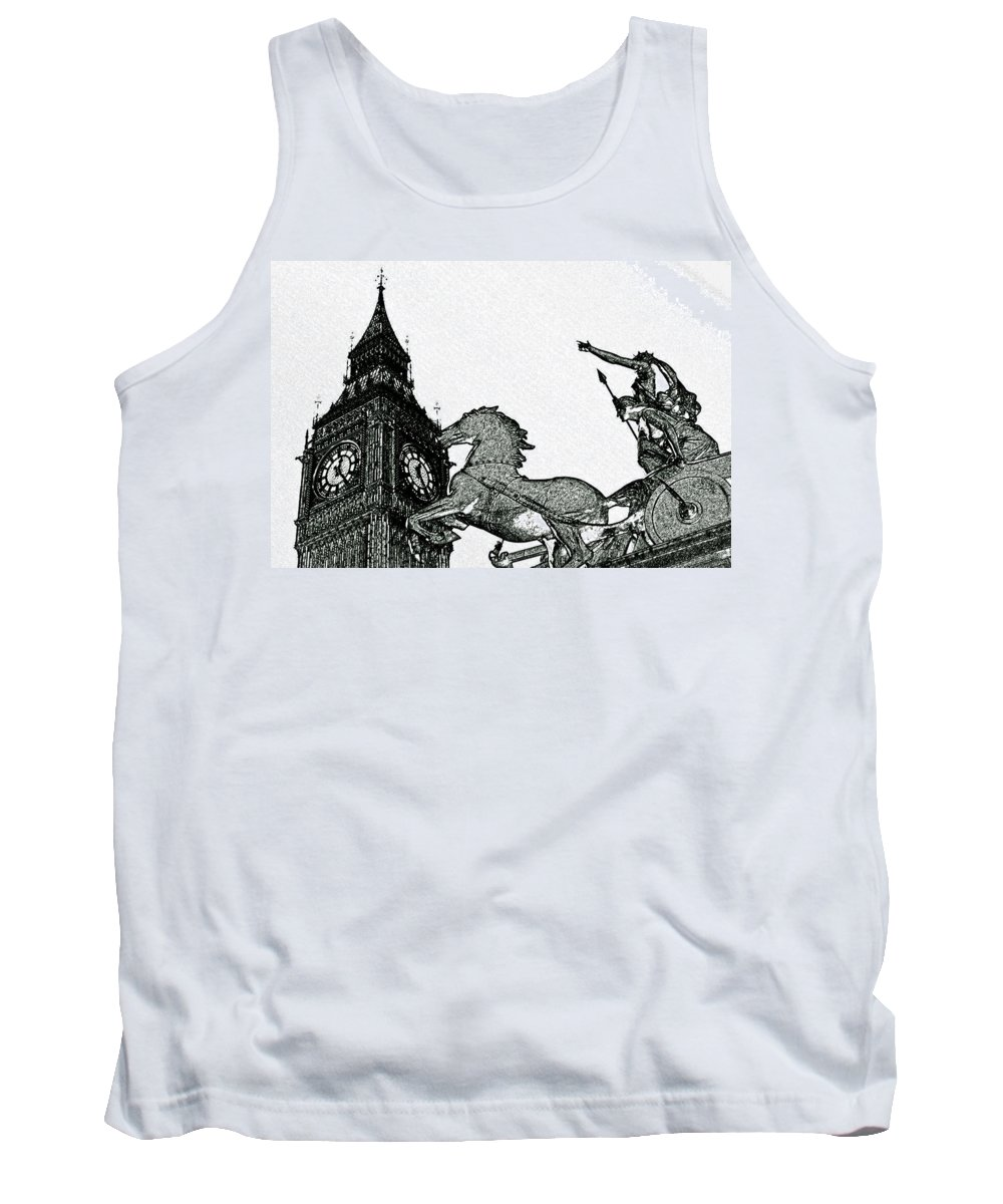 Charcoal Tank Top featuring the digital art Big Ben And Boudica Charcoal Sketch Effect Image by David Pyatt