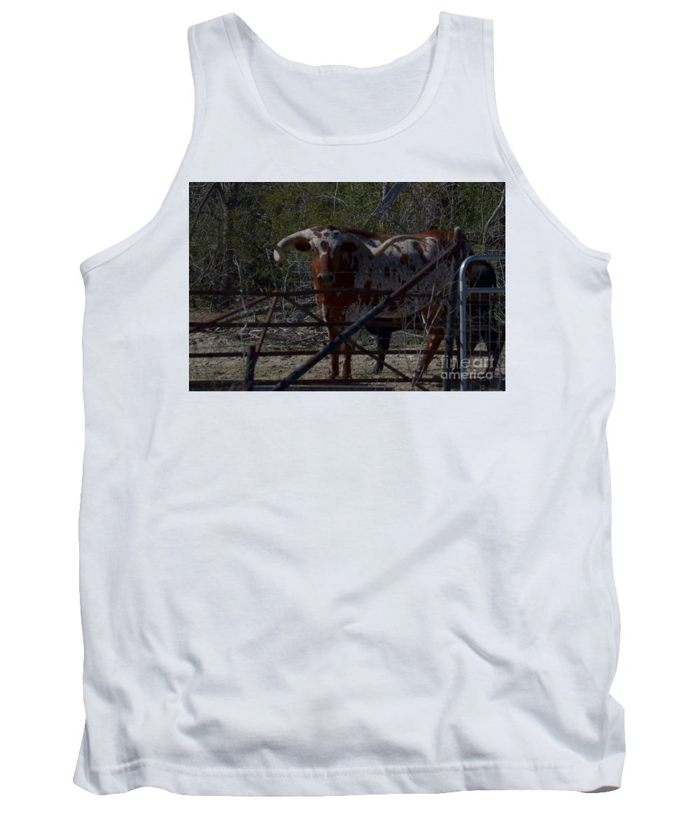 Animal Tank Top featuring the photograph Big Bull Long Horn by Donna Brown