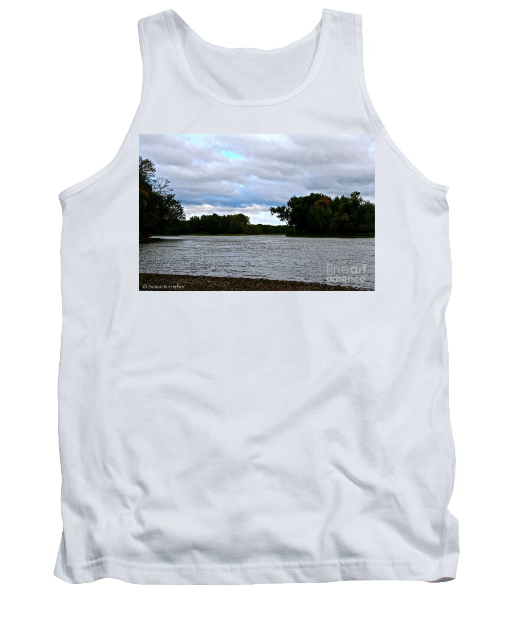 Landscape Tank Top featuring the photograph Blustery River by Susan Herber