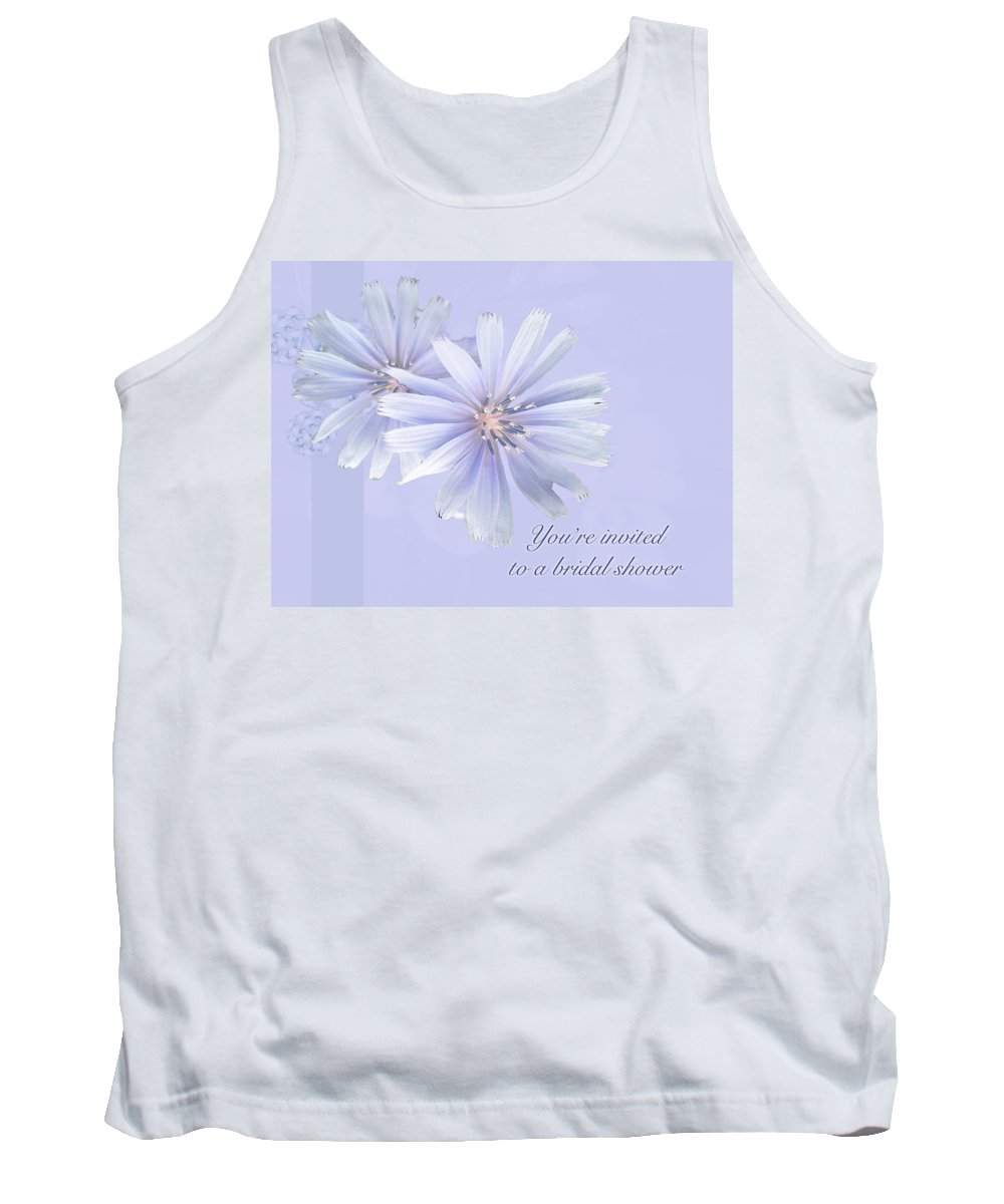 Bridal Tank Top featuring the photograph Bridal Shower Invitation - Chicory Wildflower by Mother Nature