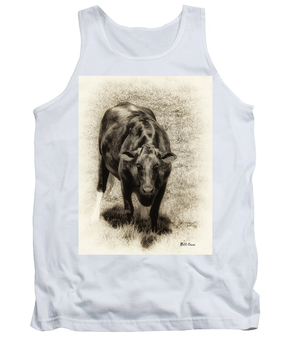 Bull Tank Top featuring the photograph Bull by Bill Cannon