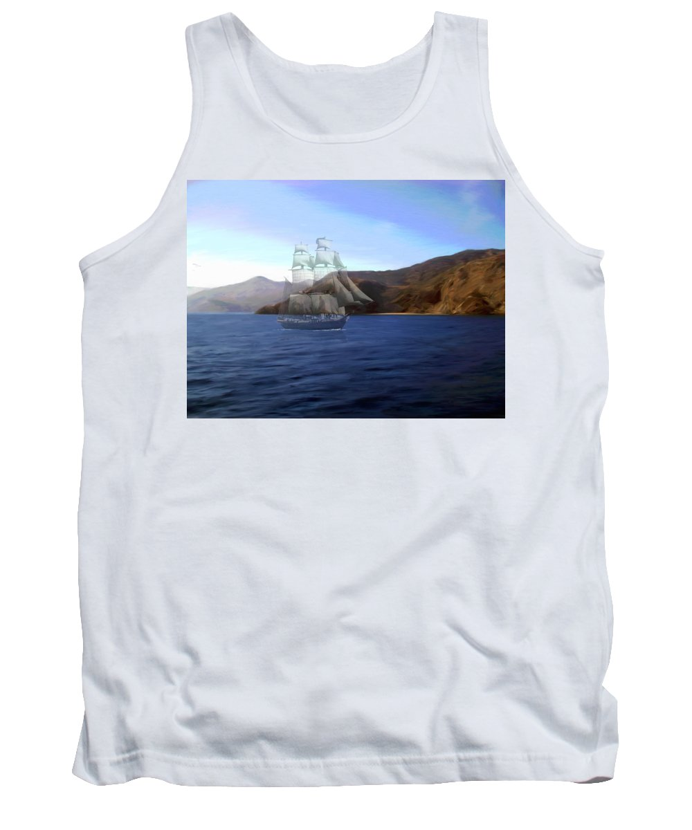 Ghost Ship Tank Top featuring the digital art Catalina Shoreline Ghost Ship by Snake Jagger