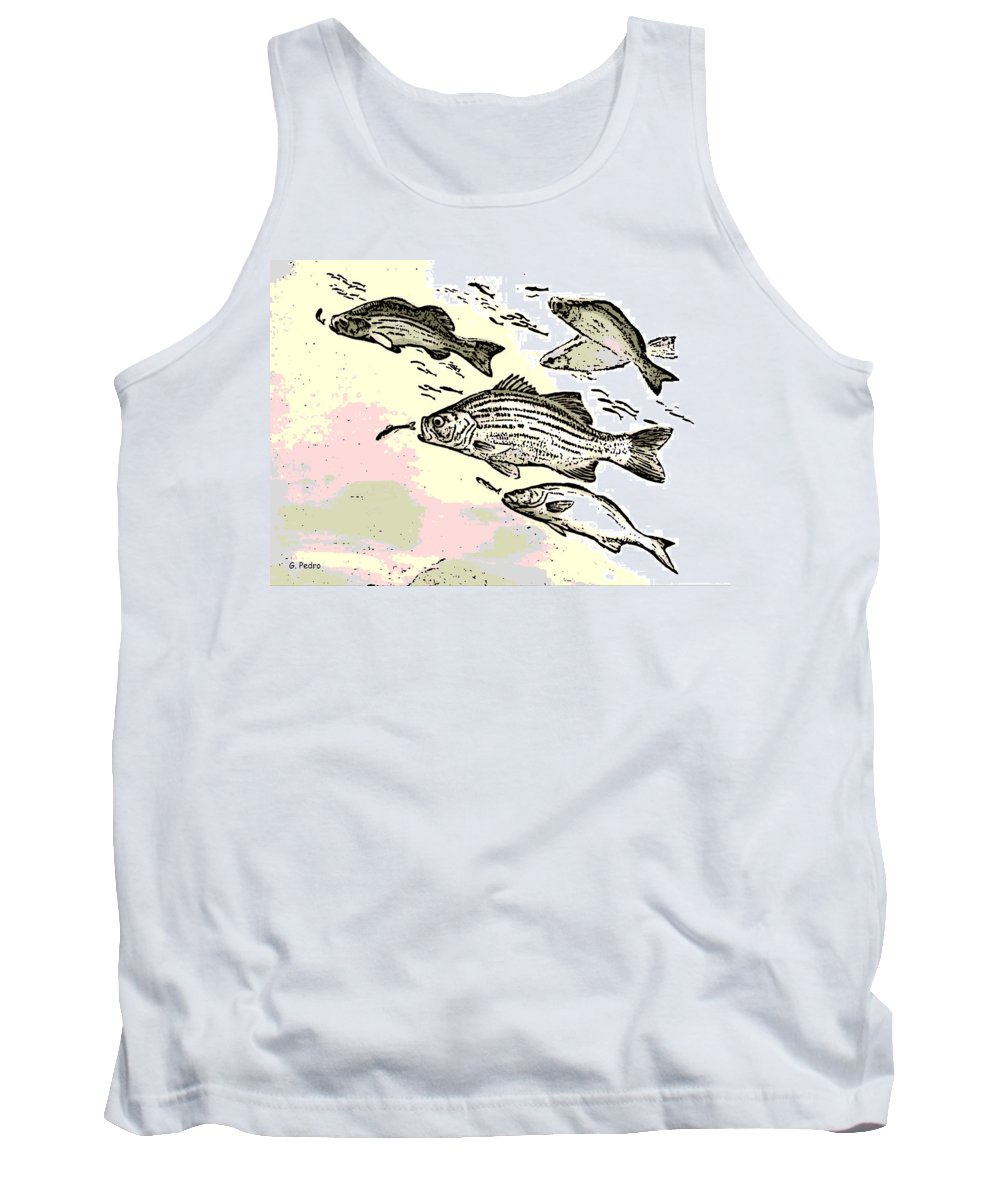 Fish Tank Top featuring the digital art Chasing Lunch by George Pedro