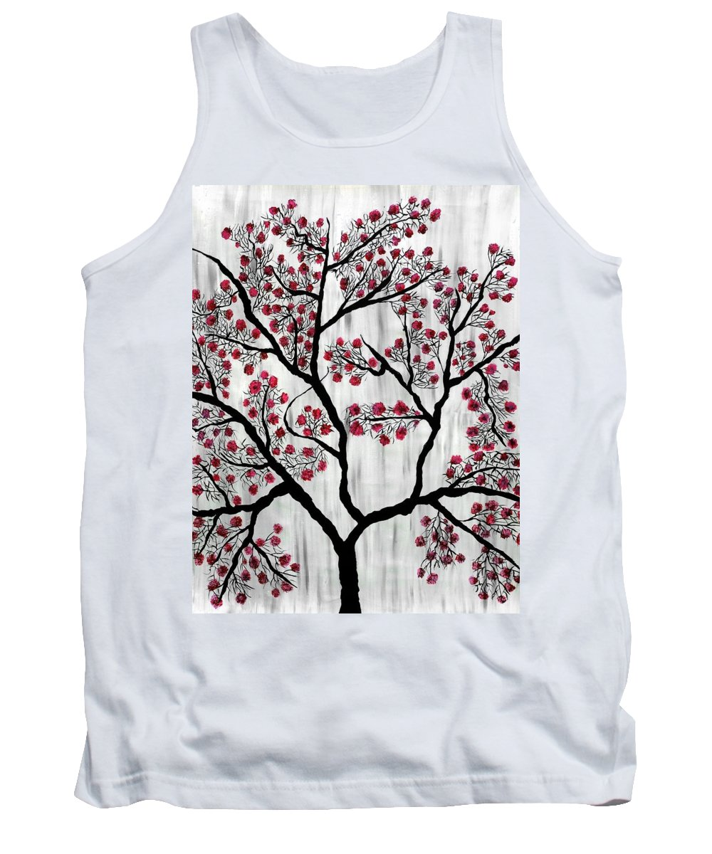 Tank Top featuring the painting Cherry Blossom by Sumit Mehndiratta