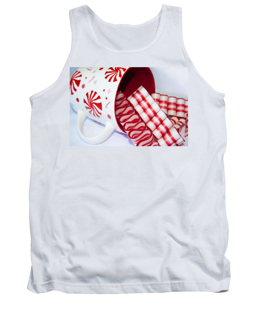 Ribbon Candy Tank Top featuring the photograph Christmas Cheer by Kathy Clark