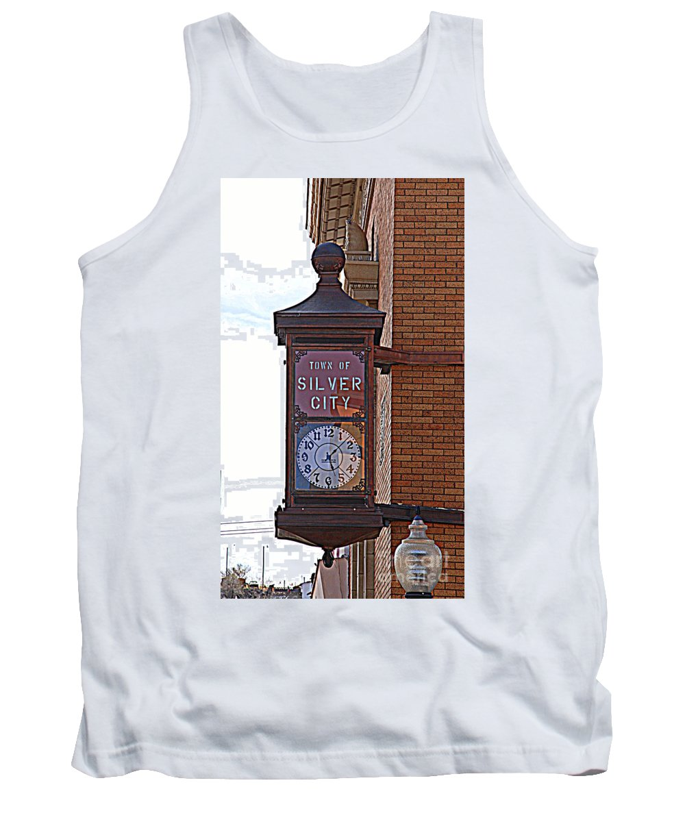 Clock Tank Top featuring the photograph City Clock In Silver City Nm by Susanne Van Hulst